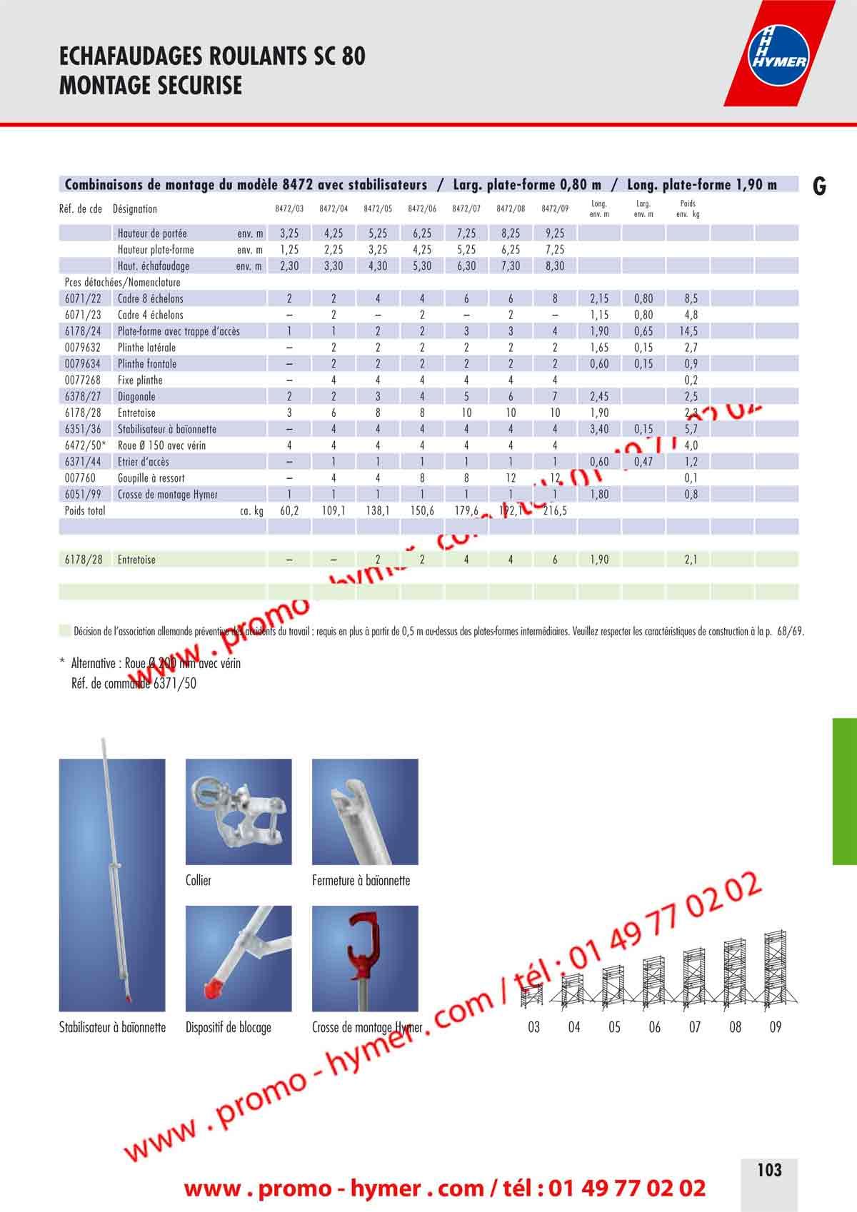 p102 echafaudage roulant alu 0 80 x 1 90 m h 9 25 metres 8472 catalogue hymer tableau prix. Black Bedroom Furniture Sets. Home Design Ideas