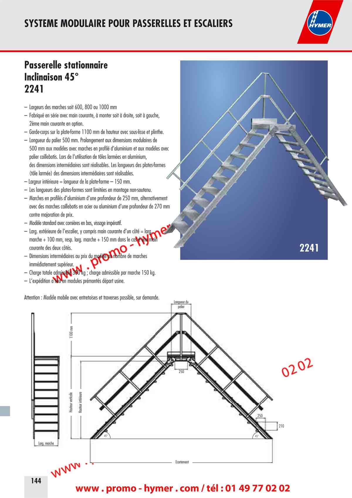 P144 p145 passerelle fixe inclinaison 45 degres marches 0 - Escalier jardin quelles sont les options possibles ...