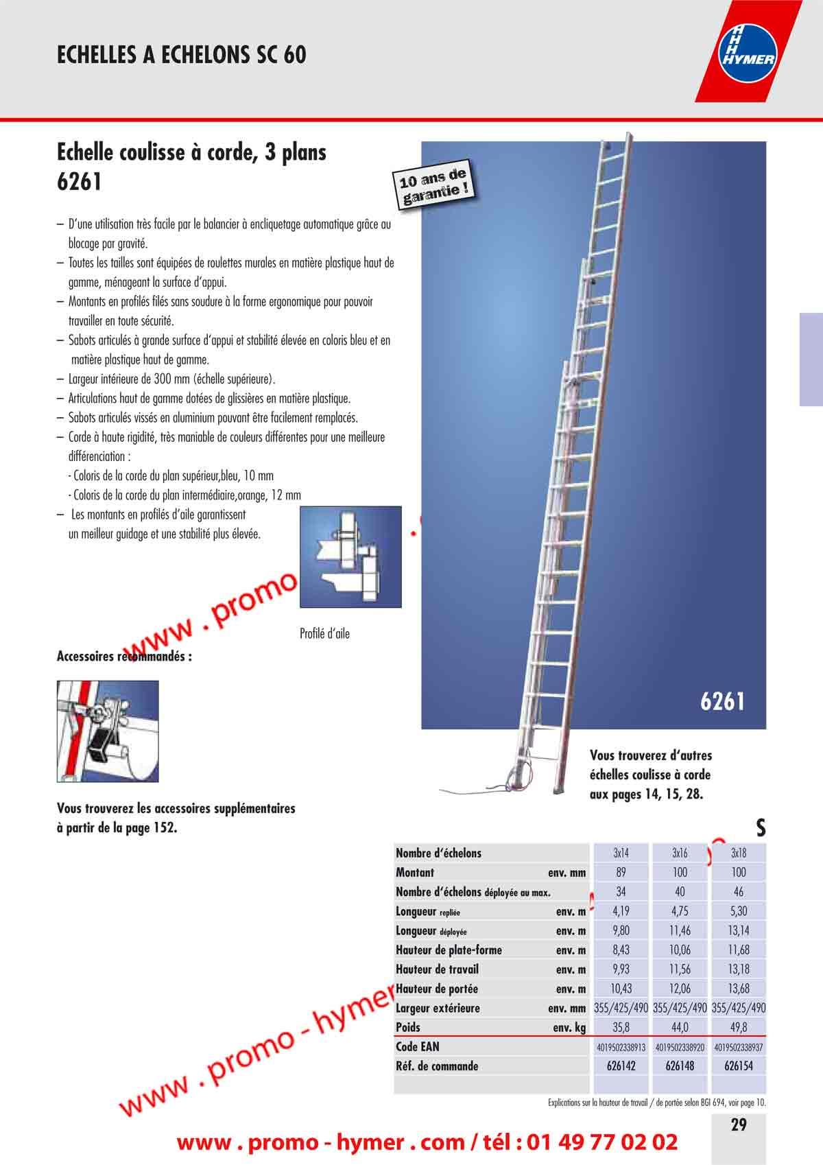 p29 echelle coulisse 3 plans 6261 en sc 60 catalogue hymer tableau prix pour tous chafaudages. Black Bedroom Furniture Sets. Home Design Ideas