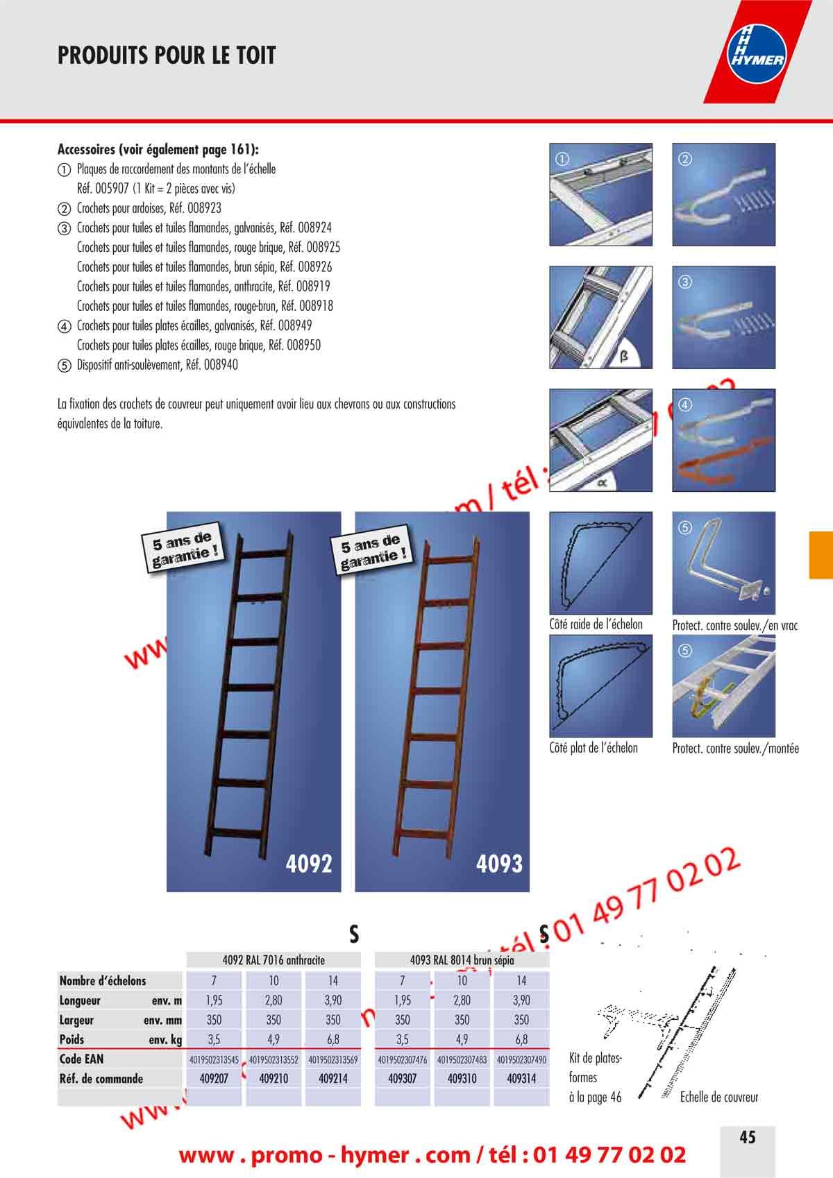 p45 accessoires pour echelle de toit catalogue hymer. Black Bedroom Furniture Sets. Home Design Ideas