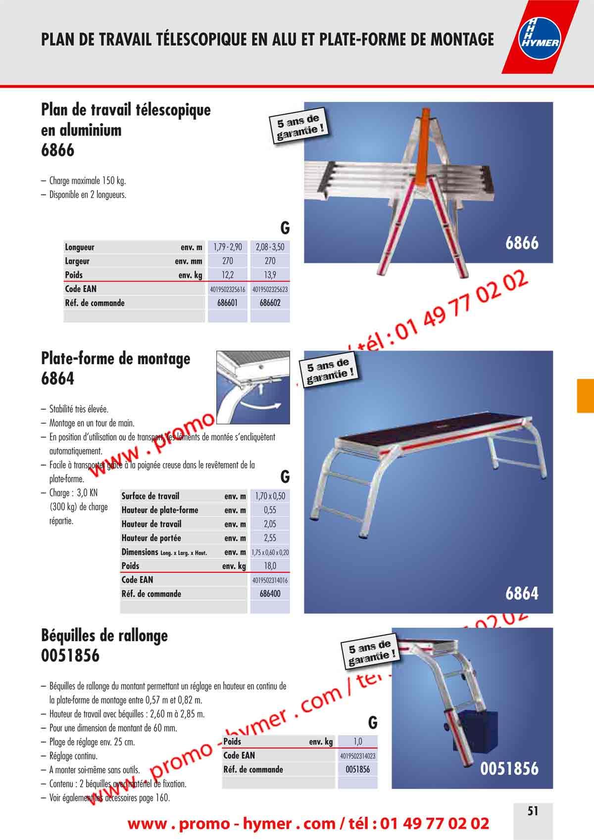 p51 plan de travail telescopique 6866 catalogue hymer tableau prix pour tous chafaudages. Black Bedroom Furniture Sets. Home Design Ideas