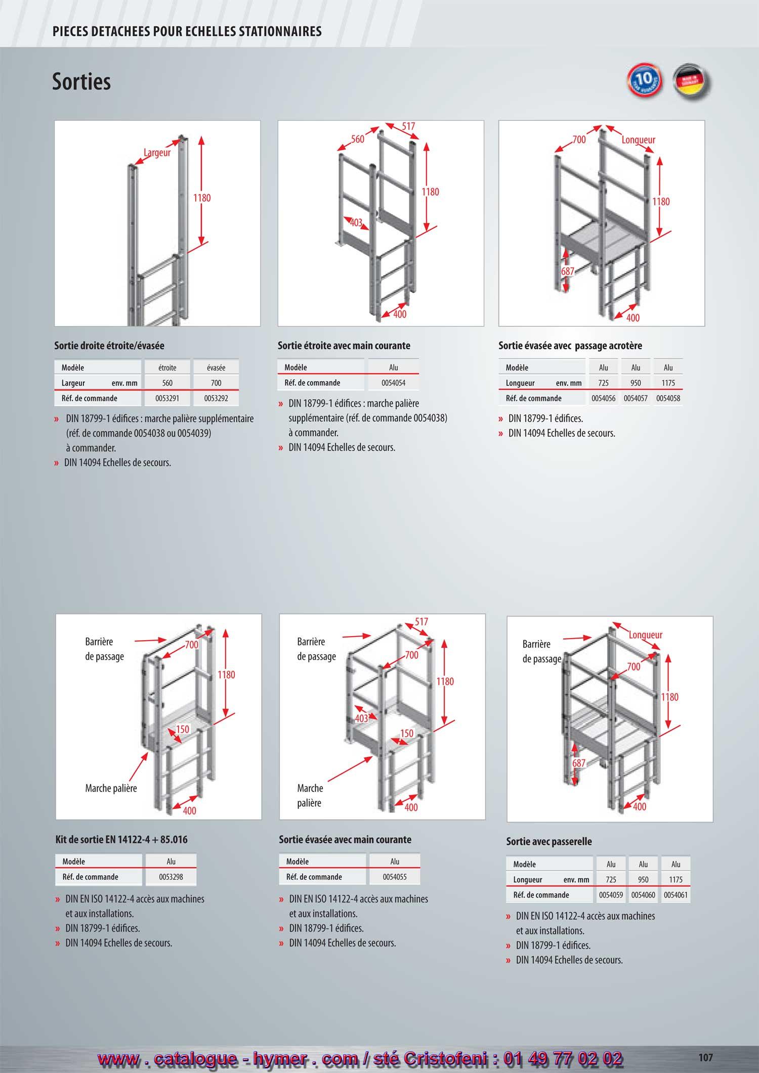 e292a0e1c119 p106 p 107 p 108 entrée sortie acces échelle crinoline accessoires  condamnation, catalogue-hymer tableau PRIX pour tous échafaudages aluminium  HYMER, ...