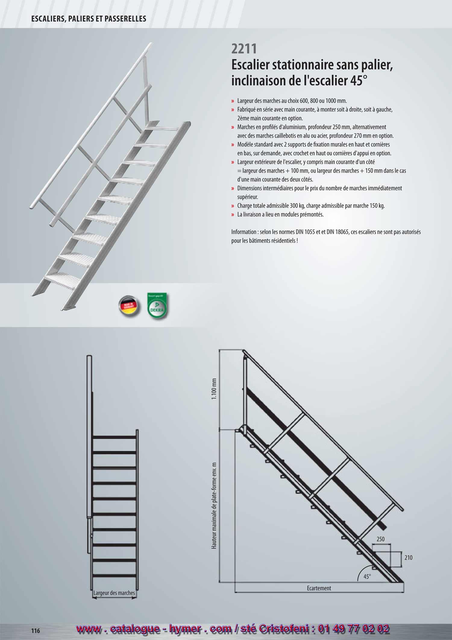 P116 p 117 escalier stationnaire grandes largeurs for Profondeur marche escalier standard