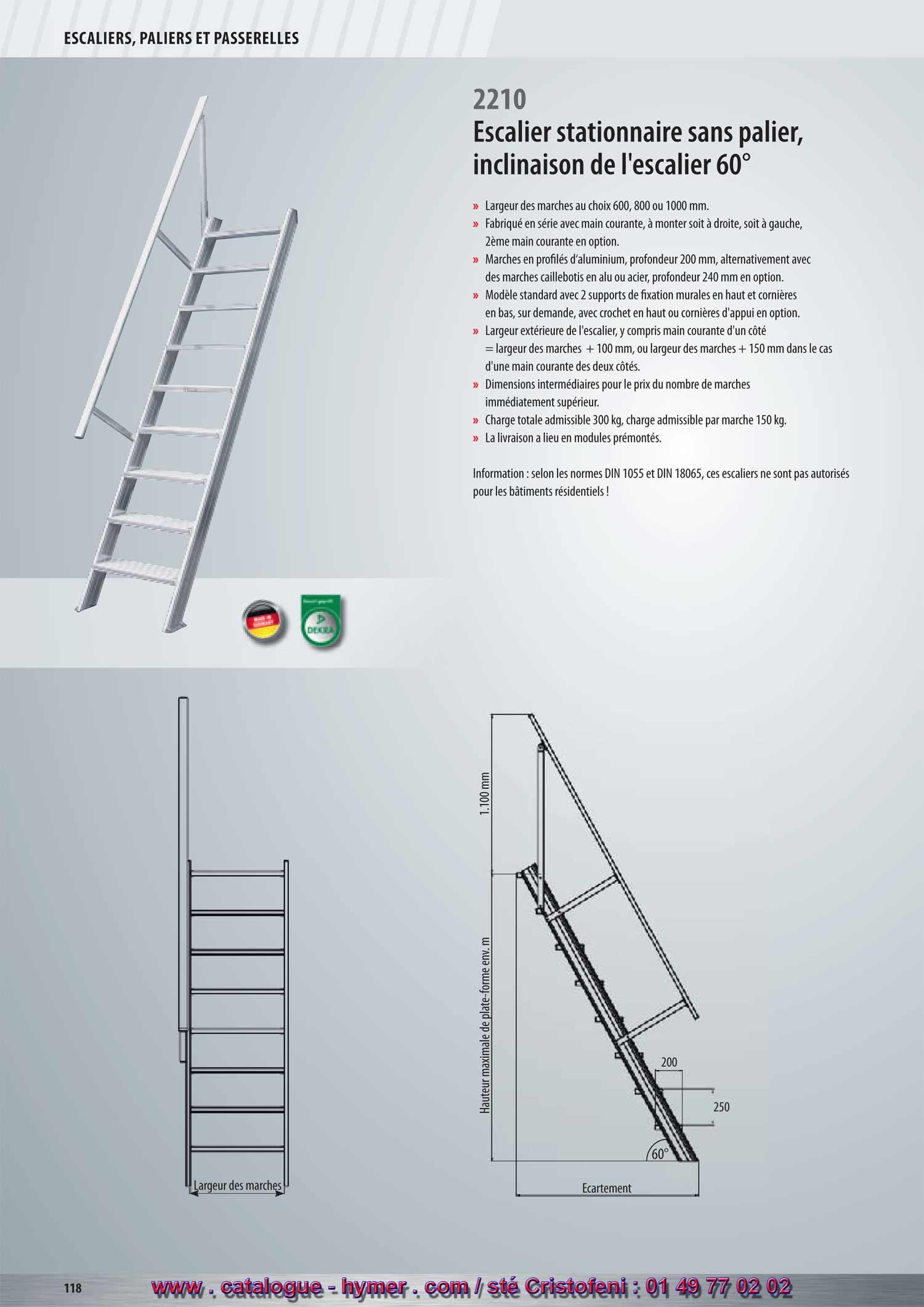 P134 p 135 escalier stationnaire 0 8m 1m largeurs for Profondeur marche escalier standard