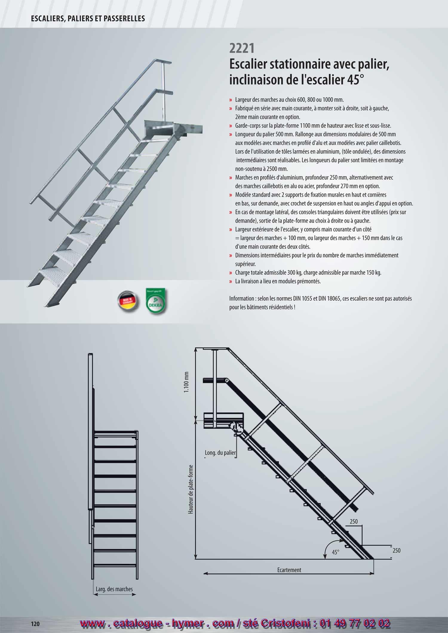 Largeur D Une Marche D Escalier p120 p 121 escalier stationnaire avec palier marches 0,8m 1m