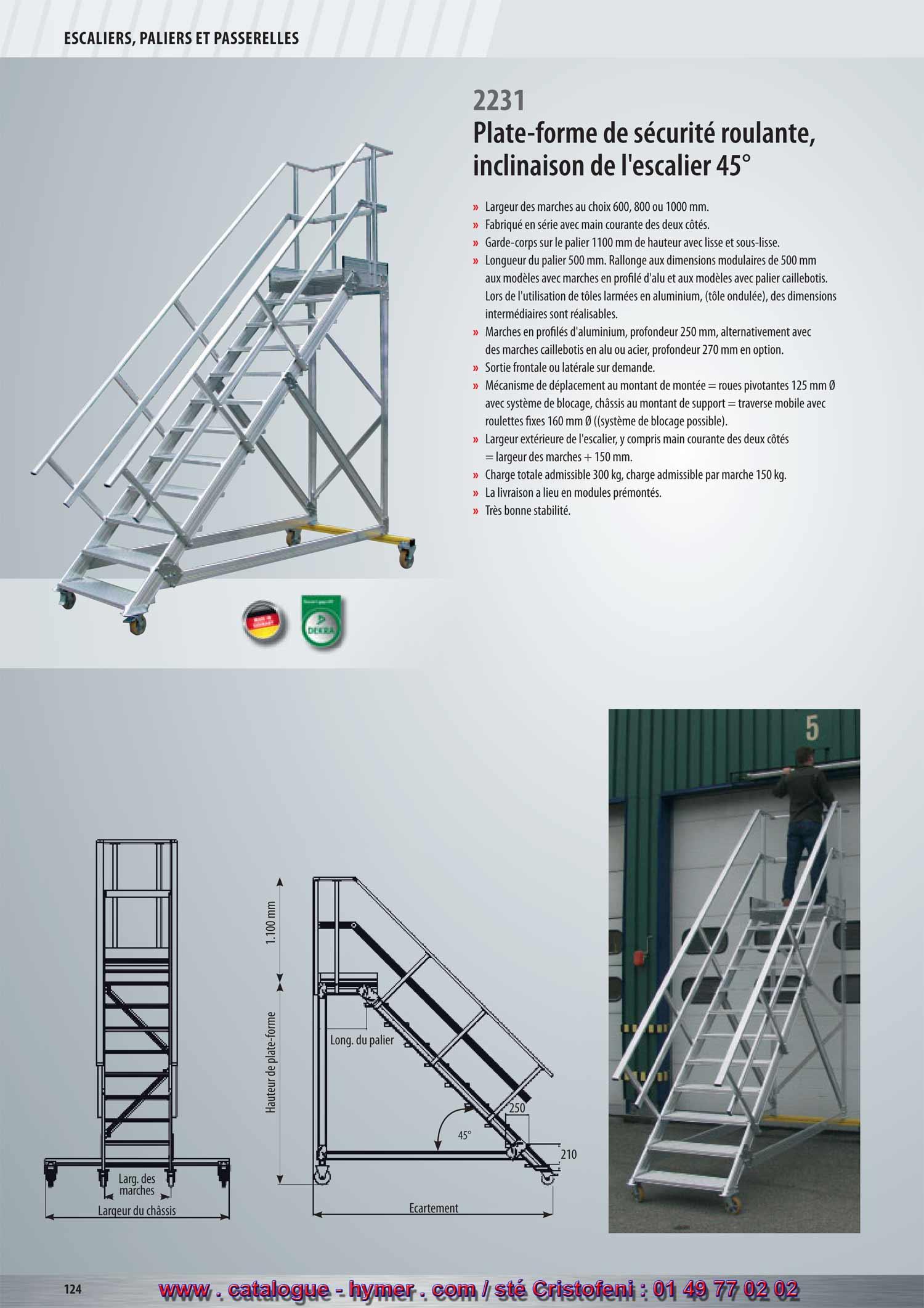 P124 p125 2012 escalier roulant avec plate forme inclinaison 45 degres marche - Escalier sur roulette ...