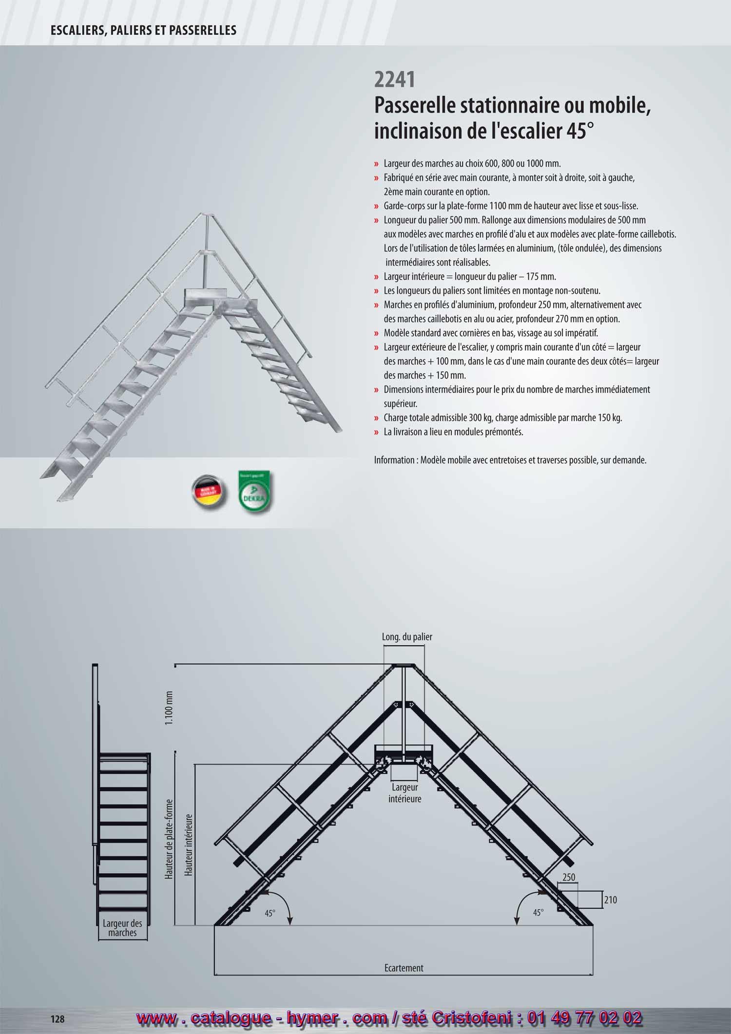 P128 p129 passerelle fixe inclinaison 45 degres marches 0 - Escalier jardin quelles sont les options possibles ...