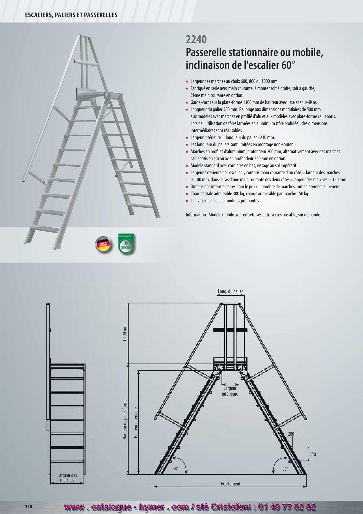 Page 130 p131 de 2012 passerelle fixe inclinaison 60 for Profondeur marche escalier standard